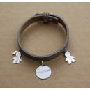 Bracelet en cuir avec 4 médailles en argent 925/000