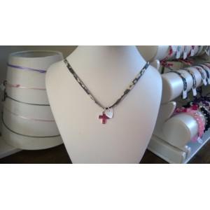 Bracelet ou collier avec une croix à graver et coeur en nacre