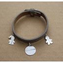 Bracelet en cuir avec 2 médailles en argent 925/000